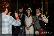 (L-R) Bagpipers Andrew Fusco and Sean Cahill (with fans) Signal it's Time to Move to the Pavilion