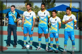 (L-R) Las Vegas Lights FC owner Brett Lashbrook and players Juan Carlos Garcia, Miguel Angel Garduno, Anuar Kanan and Carlos Alvarez