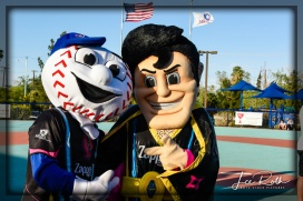 Mascots Homer and Cash the Soccer Rocker