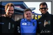 (L-R) Las Vegas Lights FC Juan Carlos Garcia, Brett Lashbrook, and Miguel Angel Garduno