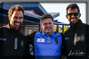 (L-R) Las Vegas Lights FC Juan Carlos Garcia, Brett Lashbrook, and Miguel Angel Garduno